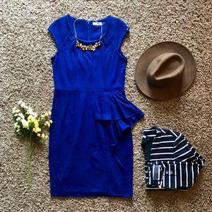 Calvin Klein Asymmetric Ruffle Hem Sheath Dress